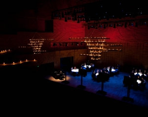 Dinner on the stage in Elisabeth Murdoch Hall